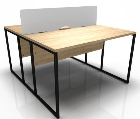 Factory Two Person Nbench Desk With Oak And Black Frame