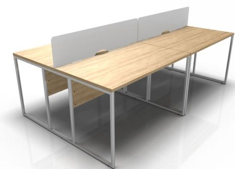 Factory Four Poerson Bench Desks With Desk Screens