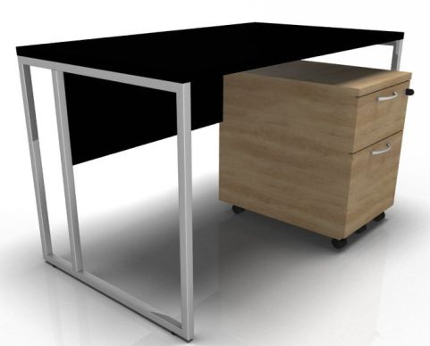 Factory Desk - Black With Chrome Legs & Oak Pedestal