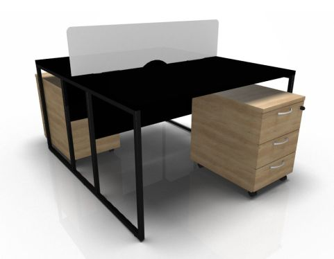 Factory Two Person Banch In Black With Oak Pedestals And Screen