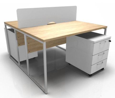 Factory Two Person Desk Screen And Pedestal Bunnder In Oak With A Chrome Frame And White Pedestal