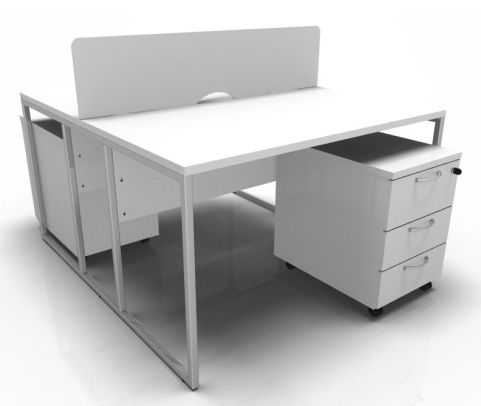 Factory Two Persob Bench In White With A Chrome Frame And White Pedestals