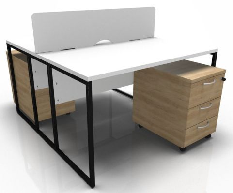 Factory Two Person Desk With Screen White Top And Oak Pedestals