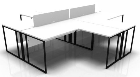 Factory 4 Person Bench Desk With Extensions And Screens