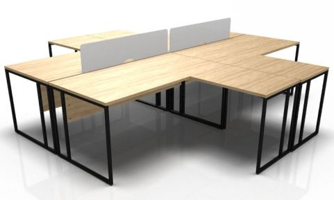 Factory Four Person Bench Desk Oak Tops And Black Frame