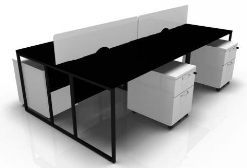 Factory Four Person Bench With Screens And Pedestals
