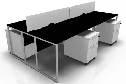 Factory Four Person Bench Desk In Black With A Chrome Frame And White Pedestals