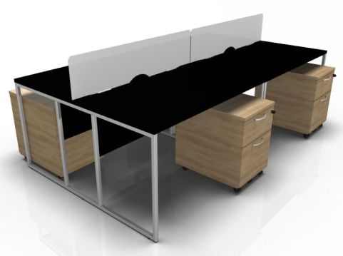 Stricto Four Persobn Desk With Pedstals And Screens With Black Desks And Oak
