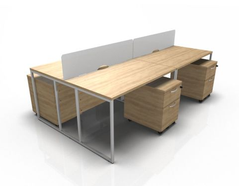 Factory Foiur Person Bench Desk In Oak
