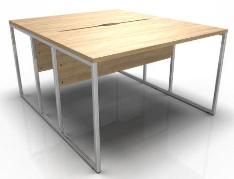 Factory Two Person Bench Desk Oak Tops Chrome Frame