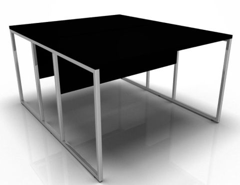Factory Two Person Bench Desk With A Black Top And Chrome Frame