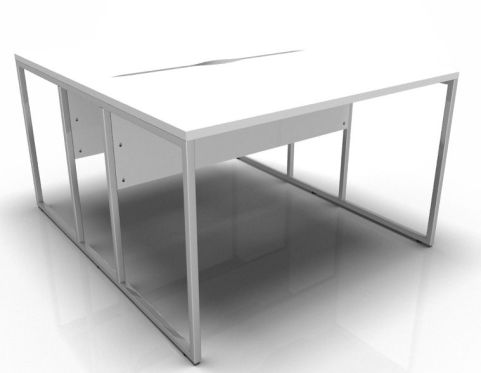 Factory Two Person Bench With White Tops And A Chrome Frame