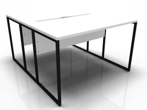 Factory Two Person Bench With A White Top And Black Frame