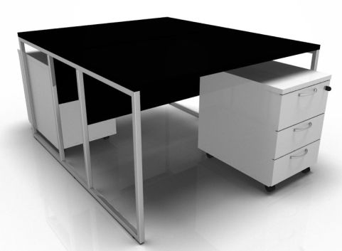Factory Two Person Bench With A Black Top White Mobile Pedestals And A Chrome Frame