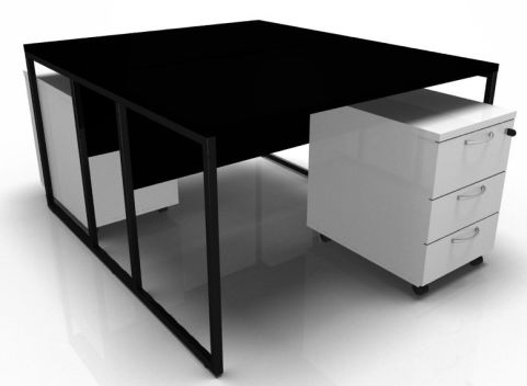 Factory Two Person Bench Desk With Black Top And Frame And White Pedestals