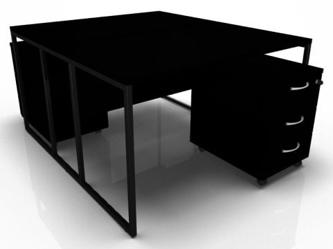 Factory Two Person Bench Desk With Black Desk Top Frame And Pedestals