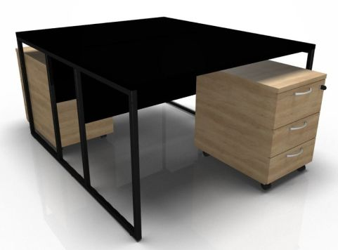 Factory Two Person Bench Desk With Black Top And Frame And Oak Pedestals