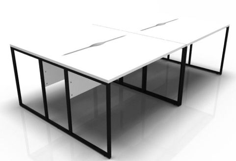 Factory Four Person Bench Desk With A White Top And Black Frame