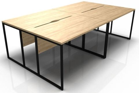 Factory Four Person Bench Desk With An Okk Top And Black Frame