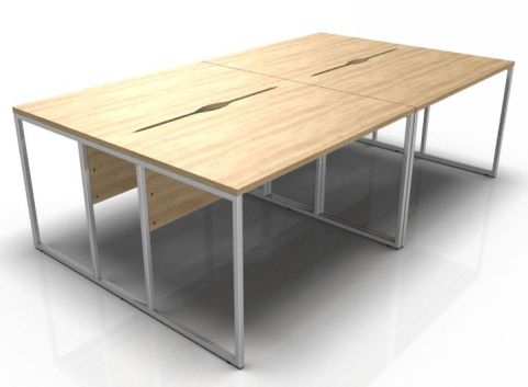 Factory Four Person Bench Desk With Oak Tops And A Chrome Frame