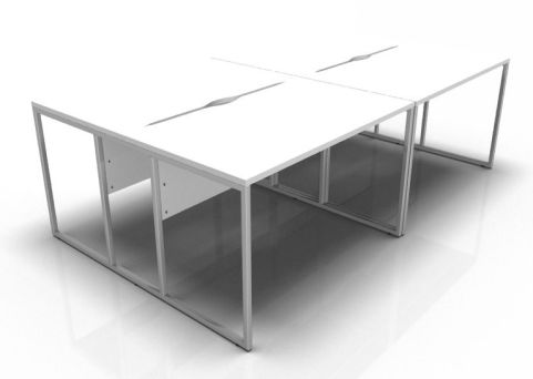 Factory Four Person Bench With White Tops And A Chrome Frame