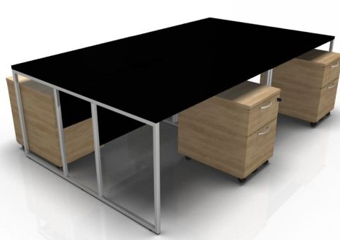 Factory Four Person Desk With A Black Top And Oak Mobile Pedestals
