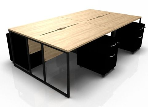 Factory Four Person Becjh In Oak With Black Mobile Pedestals