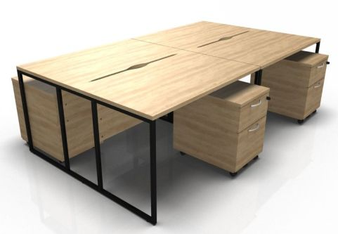 Factory Four Person Bench Desk And Mobile Pedestalsl In Oak With A Black Frame