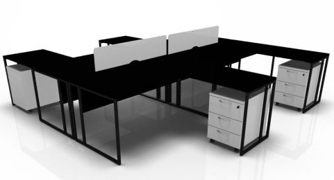 Factory Four Person Bench With Extensions Screens And Pedestals Black Desks And White Pedestals