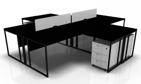 Factory Four Persons Bench Desk In Black With White Pedestals V2