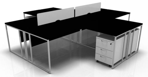 Factory Four Person Bench Desk In Black With White Pedestals