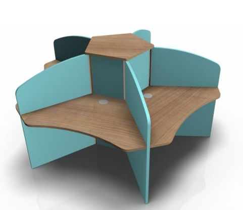 Centrix Five Person Call Cetre Desk With Pourtfina Cherry Tops And Light Blue Screens