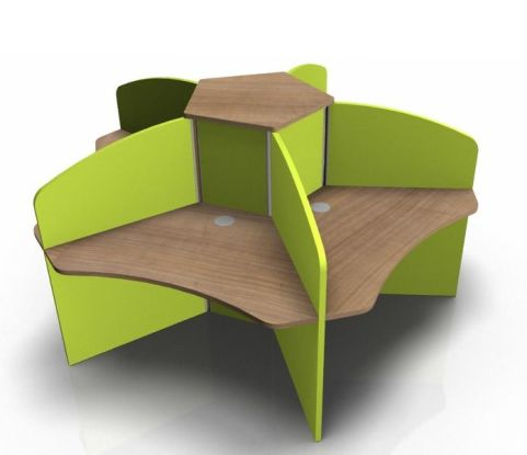 Centrix Five Person Call Centre Desk With Portofina Cherry Tops And Lime Green Screens