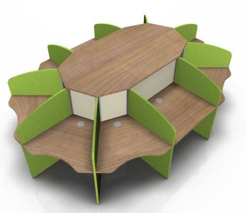 Centrix Ten Person Call Centre Desk With Cherry Tops And Green & Cream Screens