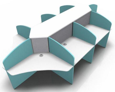 Centrix Eight Person Call Cebtre Deskl With White Tops And Blue Screens V4