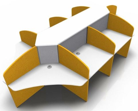 Centrix Call Centre Desk With Orange & Grey Screens V4