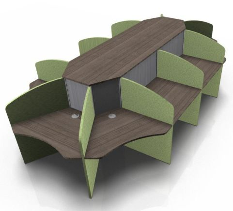 Centrix Ten Person Call Centre Desk With Walnut Tops And Green Screens