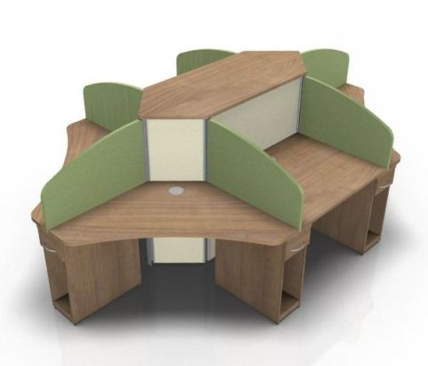 Centrix Six Person Call Centre Desk With Cherrty Tops And Gren & Cream Screens