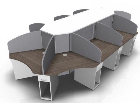 Centrix Ten Person Call Centre Desk In Walnut And White
