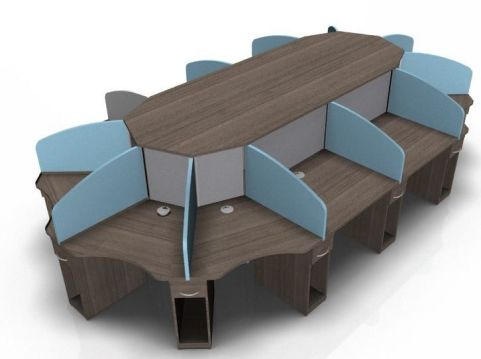 Centrix12 Person Call Centre Cluster In Walnut, Light Blue And Grey