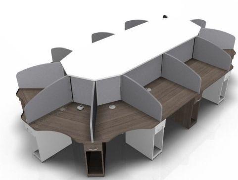 Centrix Twelve Person Call Centre Desk In Walnut And White