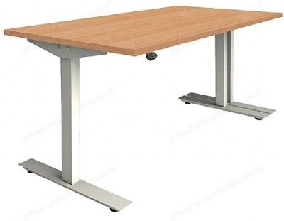 Dtaycott Height Adjustable Sit Stand Desks Beech Top