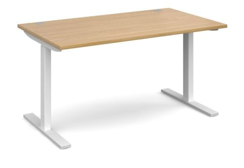 HI Rise Sit Stand Desk With An Oak Top