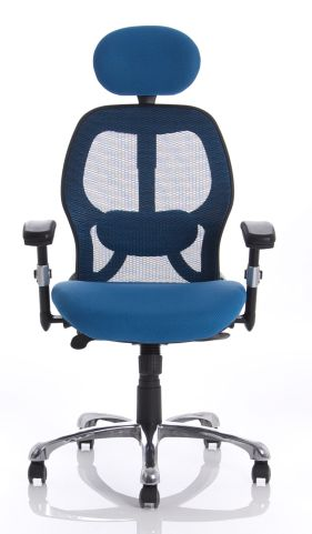Ergo Star Blue Mesh Chair Face Shot