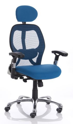 Ergo Star Blue Mesh Chair Front Angle