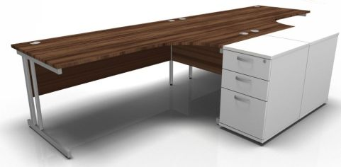Solar Two Corner Desks And Desk Height Pedstals In Walnut & White