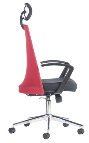 Reevel Red Mesh Operator Chair Side View