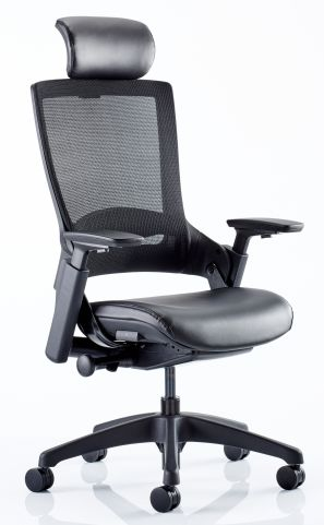 Lotus Mesh Back Chair With Faux Leather Seat Front Angle