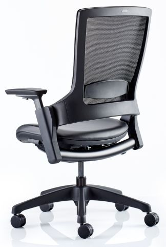 LOtus Mesh Task Chair With A Black Leather Seat Rear Angle