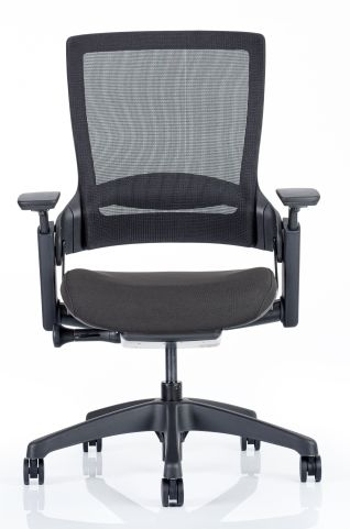 Lotus Mesh Task Chair With A Black Fabric Seat Front View